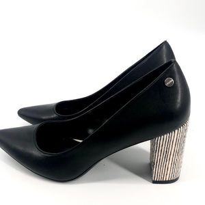 Calvin Klein | Faux Leather Block Healed Pumps